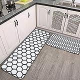Juego de 2 alfombras de cocina, sin costuras, diseño de panal de abeja, supersuave, franela, antideslizante, lavable, juego de alfombras de baño