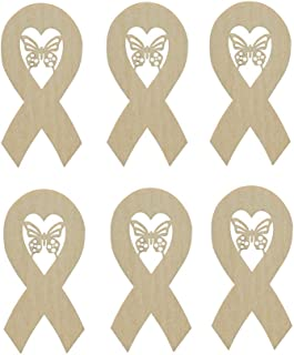 Ribbon with Butterfly Cut Out Unfinished Wooden Cancer Ribbons 6pcs #RIB-B06