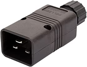 [5Pack] IEC 320 C20 Male AC Plug, Vellcon EN 60320 C20 16A 250V 20A/125V AC Power Connector,IEC C20 Rewirable DIY Plug,C20 Screw Lock AC Plug, Black Color