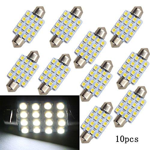 Boomboost 10 pcs/lot Blanc 36mm 16SMD 3528 LED Voyants de Voiture Ampoule pour Lumières Intérieures Voiture Tour Lampe Accessoires