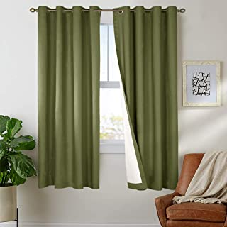 jinchan Lined Thermal Blackout Curtains for Bedroom Forest Green Light Reducing Room Darkening Curtain Panels for Living Room Grommet Top 63 Inch Length Sold Individually