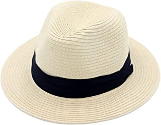 Hats Fedora Beach Sun Hat Wide Brim Straw Panama Hat Fashion (Color : Beige, Size : Adjustable)