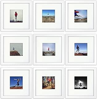 Tiny Mighty Frames 9-Set, Wood, Square, Instagram, Photo Frame, 4x4 (Mat), 8x8 (9, White)