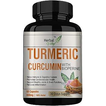 HerbalValley Turmeric Curcumin with Bioperine | Anti-Inflammatory | Antioxidant | 60 Capsules | 800mg