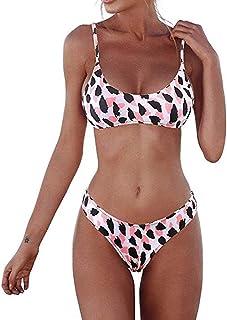 6b0556faaa IZHH Maillot de Bain Leopard Femme 2 pièces Femmes Bandeau Bandage Point de Bikini  Push-