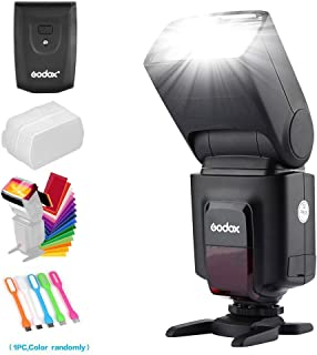 Godox TT520II Wireless 433MHz GN33 Camera Flash Speedlite Light & Built-in Receiver with RT Transmitter Compatible for Canon Nikon Sony Olympus Pentax Fuji DSLR Cameras & Diffuser & Filter & USB LED