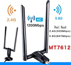 USB 3.0 WiFi Adapter, Free Driver Dual Band 2.4/5.0 GHz Wireless Network Adapter with Dual 5dBi Antenna 802.11AC for Laptop Desktop PC (M-1200M)
