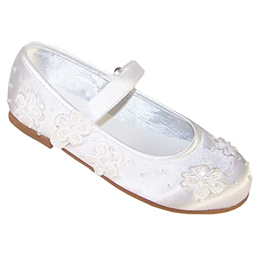 29707365f Girls White Satin Ballerina Shoes for Flower Girls Bridesmaid and Special  Occasions