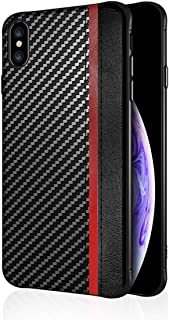 iphone X XS Case PU Leather Carbon Fiber Texture Design Slim Fit Ultra-Thin Premium Soft TPU Full Body Protective Anti-Scratch Shock Proof Dust Phone Cover Compatible with Apple iphone X XS 10 (Black)