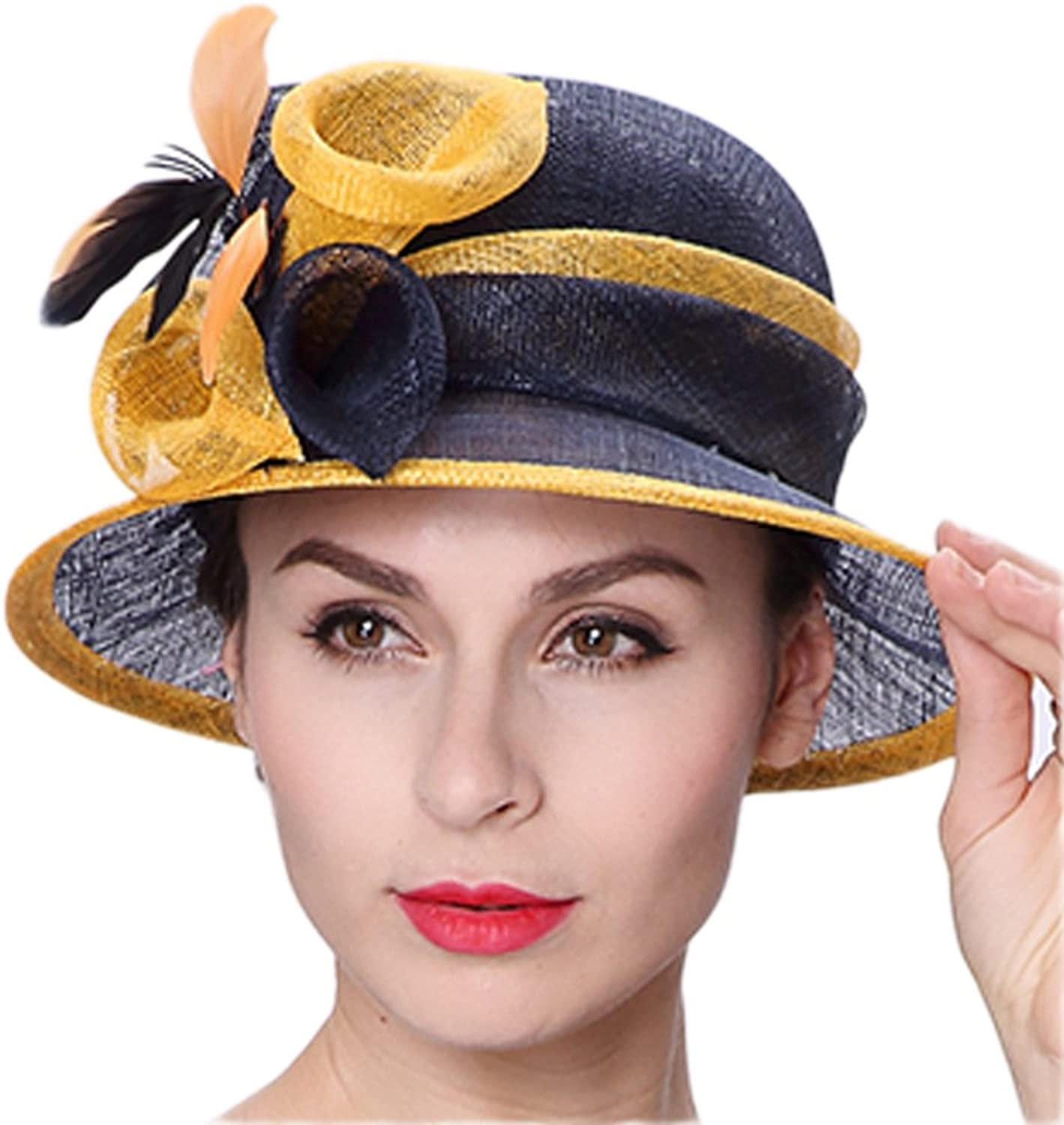 June's Young Summer Hats Floral Feather Navy Yellow color Hats