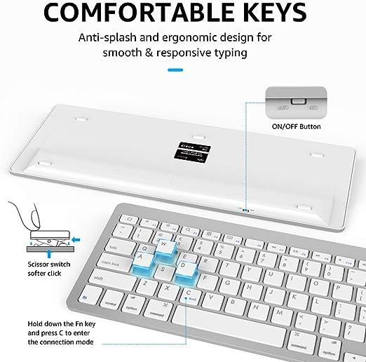 INPHIC Combo de Teclado y ratón inalámbrico Bluetooth Ultra-Delgado, Compatible con iPad 10.2/9.7, iPad Air 10.5, iPad Pro 11/12.9, iPad Mini 5/4, ...