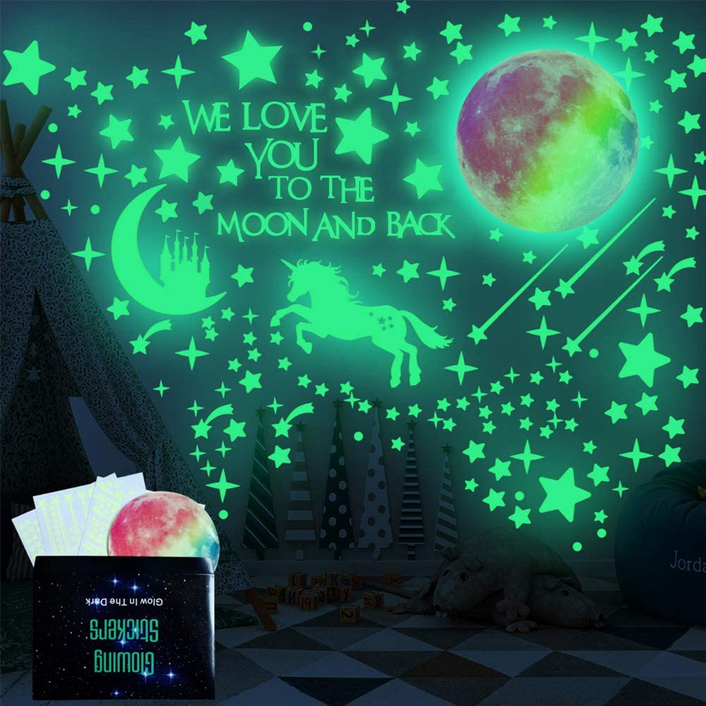 Blue ISENPENK 327Pcs Glow in The Dark Ceiling Stickers Luminous Dots Stars and Moon DIY Wall Stickers for Ceiling Or Walls