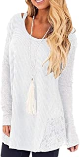 Women's Long Sleeve Lace Scoop Neck Tunic Tops Blouse Shirts