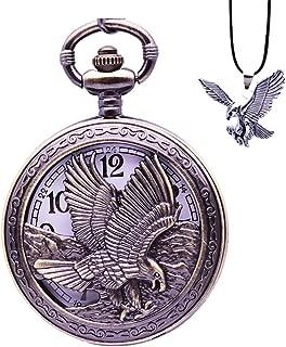 Eagle Pocket Watch with Chain Vintage Quartz Arabic Numerals Half Hunter 2019 Fashion Gift