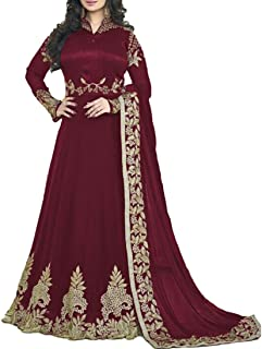 Ethnic Empire Women's Georgette Semi Stitched Anarkali Salwar Suits (Ethnic_Er10210_Maroon_Free Size)
