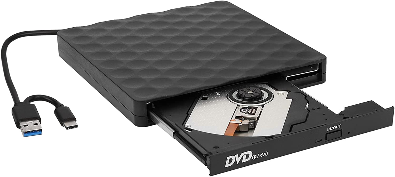 External DVD Drive, USB Type-C 3.0 CD Player Dual Port DVD Burner CD DVD Rewriter Burner Compatible with Windows XP/7/10, Laptop, Desktop