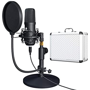 USB Microphone Kit 192KHZ/24BIT with Aluminum Organizer Storage Case MAONO AU-A04TC PC Condenser Podcast Streaming Cardioid Mic Plug & Play for Computer, YouTube, Gaming Recording
