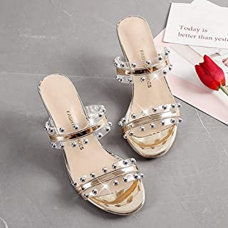 Transparent rivet High heels slippers women summer Party shoes women Fashion ladies Pumps Sandals