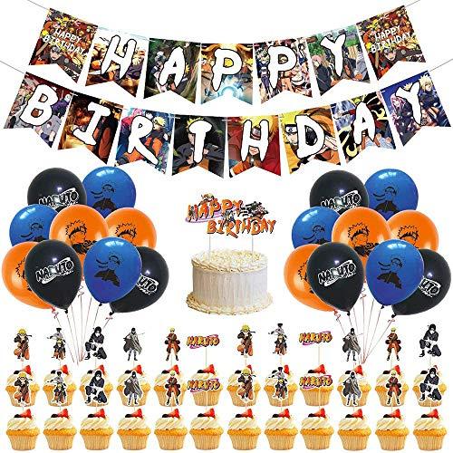 WOO - Naruto Globos,Decoracion Cumpleaños Naruto Globos de Anime Feliz,Naruto - Juego de Decoraciones para Fiestas,Naruto Anime JaponéS Feliz CumpleañOs Banner