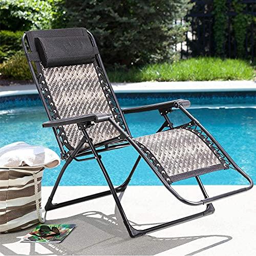 HBIAO Sillón para Exterior Zero Gravity, sillón Plegable de Mimbre de ratán Ajustable para Patio reclinable con reposacabezas y portavasos para jardín y Patio