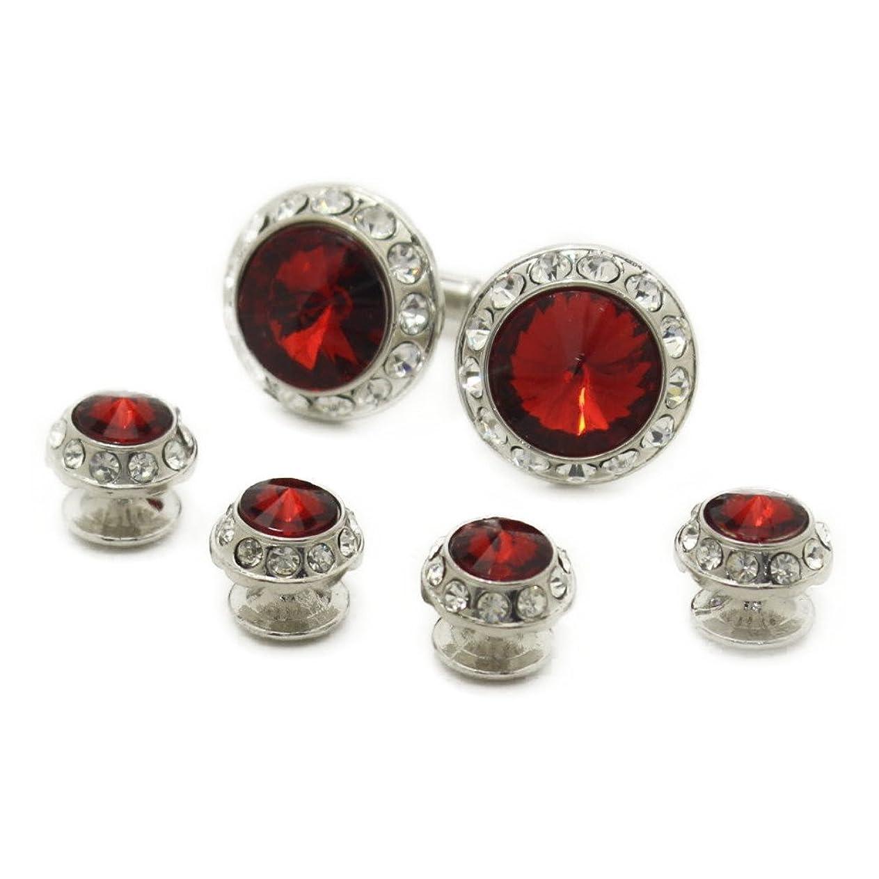 エゴイズムテレマコスジャニススタッドボタン 赤レッドストーン 4個+カフスボタンのセット