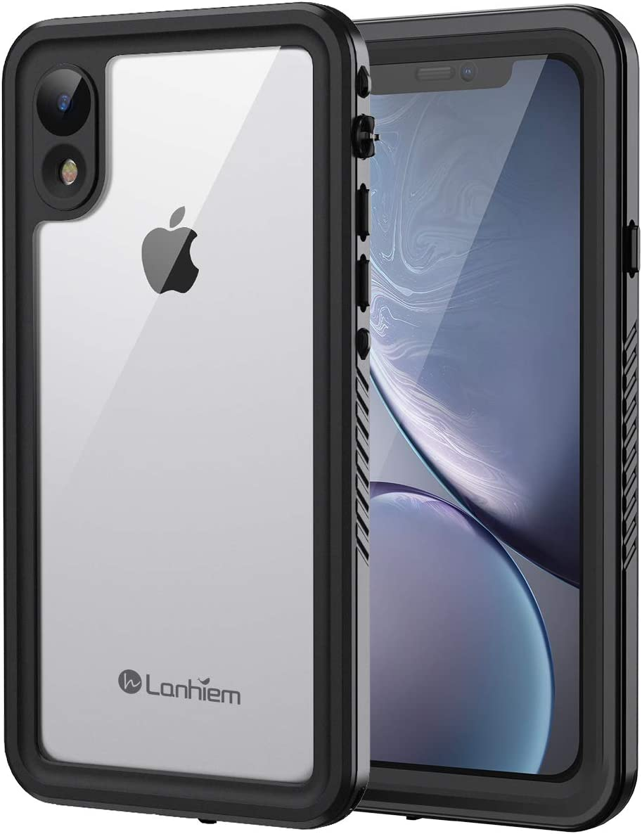 Lanhiem iPhone XR Case, IP68 Waterproof Dustproof Shockproof Case with Built-in Screen Protector, Full Body Sealed Underwater Protective Clear Cover for iPhone XR (Black)