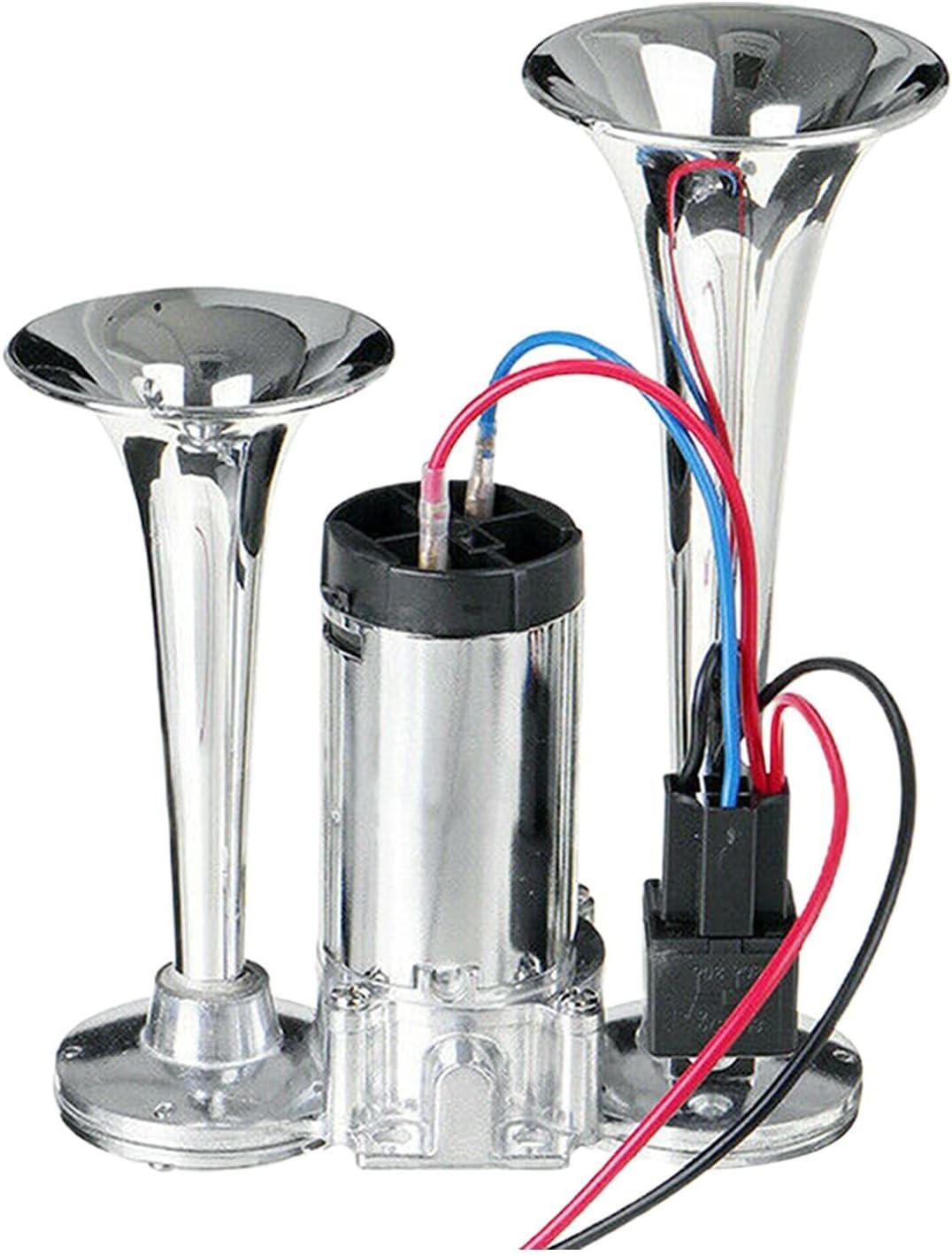 Glum 600DB Brand Cheap Boston Mall Sale Venue 12V Car Air Horn Trumpets Kit Zinc Truck Dual Chrome
