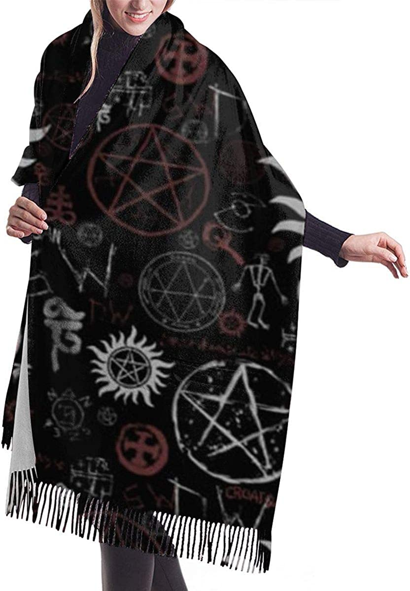 QBahoe Indian Hippie Gypsy Bohemian Symbols Black Cashmere Scarf for Women Men Lightweight Oversized Fashion Soft Winter Scarves Fringe Shawl Wrap