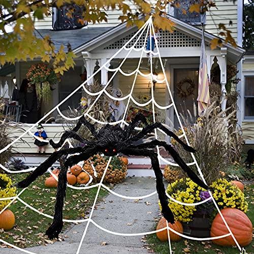 DUOLAM 5 Metri Ragnatela di Halloween+125 cm di Ragno Gigante Decorazione Ragno Finto con Grande Ragnatela Triangolare per la Decorazione di Interni ed Esterni Patio Decorazioni per Feste di Famiglia