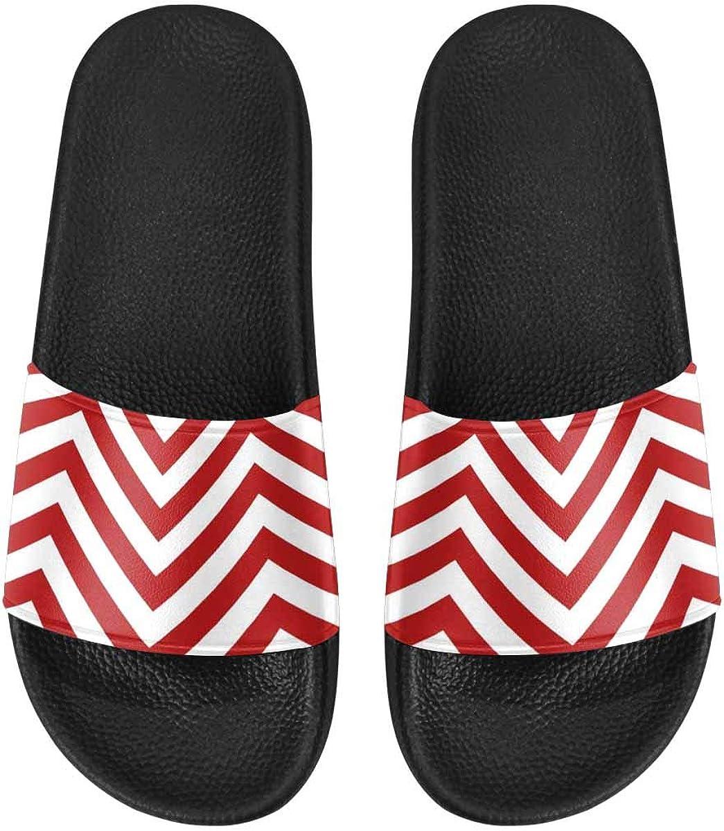 InterestPrint Women's Lightweight Slipper Sandals for Shower Chevrons Pattern Background