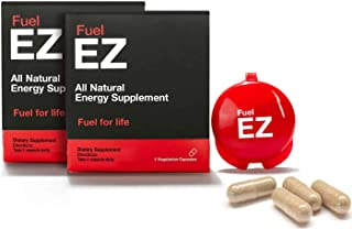 Fuel EZ Caffeine and Guarana Pills with Natural Guarana, Caffeine, Green Coffee Bean Extract, Smooth All Day Energy with Vitamin B Complex, L Tyrosine 1000 milligrams (8 Servings)