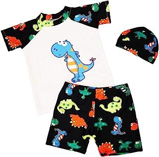 XM-AmigoBaby Traje de baño de manga corta para niños pequeños + pantalones cortos + gorro 3 piezas/set (1 – 7 años) Azul-B XL