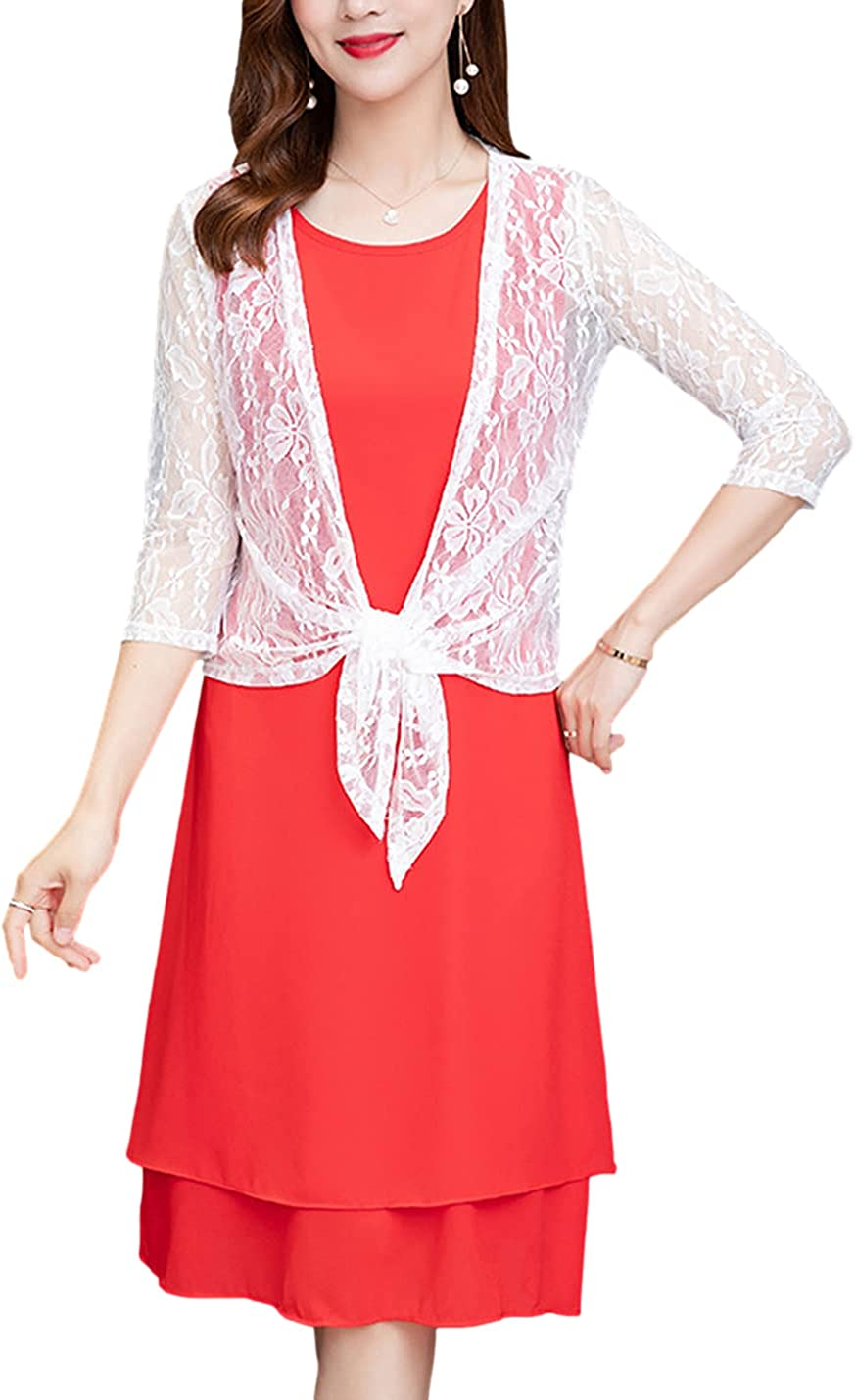 Omoone Womens 3/4 Sleeve Floral Lace Shrug Casual Loose Open Front Bolero Cardigan