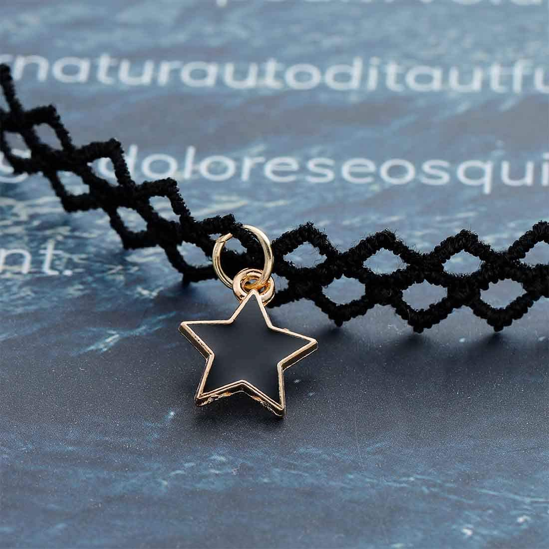 Olbye Elastic Choker Star Necklace Black Tattoo Choker Necklaces for Women and Girls Plastic Minimal Necklace Jewelry