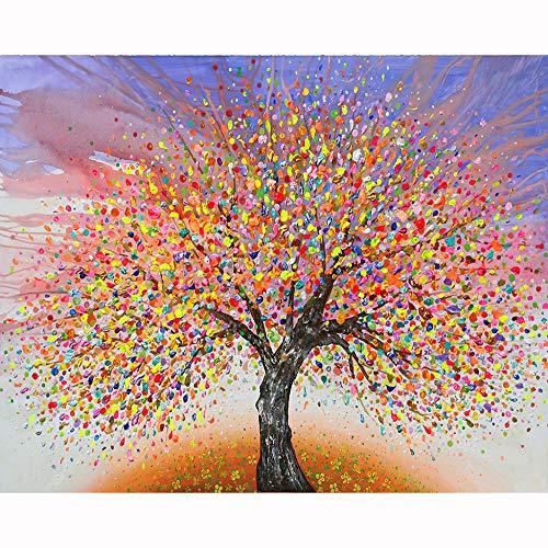 Albero Pittura Digitale Fai da Te 15.6x19.5 Pollici Paint Number per Bambini e Adulti e Principianti(Senza Cornice)