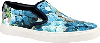 Gucci Men's Bloom Flower Print Blue GG Supreme Coated Canvas Slip Sneakers 407362 8471