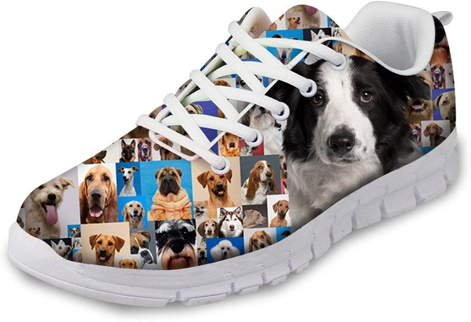 NAYINLAN Women Running Sport shoes 3D Dog Print Breathable Mesh Canvas Sneakers