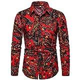 HDDFG Camisas informales de manga larga estampadas para hombres Verano Otoño Primavera Camisas de vestir masculinas Cool Man Plus Size Top (Color : A, Size : L code)