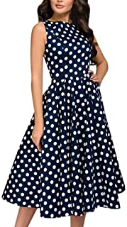 Dress for Women Elegant for Party Office,Casual Hepburn Vintage Dot Print Sleeveless Tunic A-Line Midi Swing Dresses