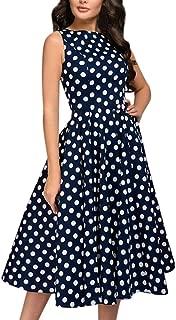 Womens Dot Swing Dresses Sleeveless Hebburn Vintage Zip Cute Floral Knee Length Party Dress