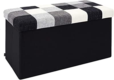 THE HOME DECO FACTORY HD7182 Coffre Banc Pliable, Polyester, Patchwork, 76 x 38 x 38