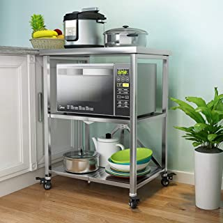 3-Tier Storage Rolling Trolley Cart, Foldable Mobile Trolley Shelf 304 Stainless Steel Kitchen Shelf Landing Microwave Ove...