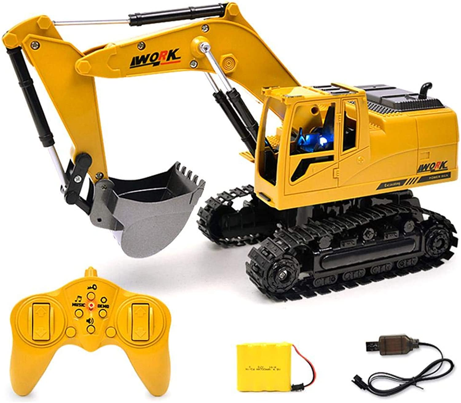 blueeyouth Remote Control Excavator - 5CH RC Construction Excavator Simulation Tractors Engineering Vehicles Excavator Digger with Flash Crawler, Light Electronic Toy Model.
