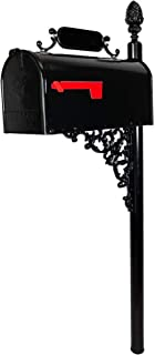 ADDRESSES OF DISTINCTION Oak Standard Mailbox & Post Kit – Black Mailbox System – Includes Address Plaque, Numbers & Mounting Hardware – Rust Resistant Metal Mailbox with Pineapple Finial