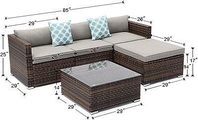 Amazon.com: Khaokee Juego de 4 sofás acolchados de mimbre ...