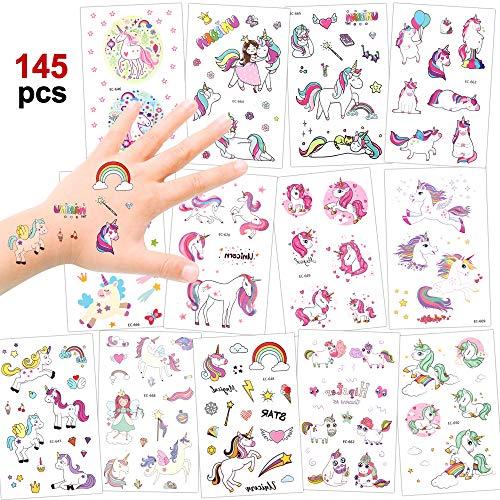 Konsait Einhorn Tattoos Set, Einhorn temporäre Tattoos Kindertattoos klebetattoos für Mädchen...