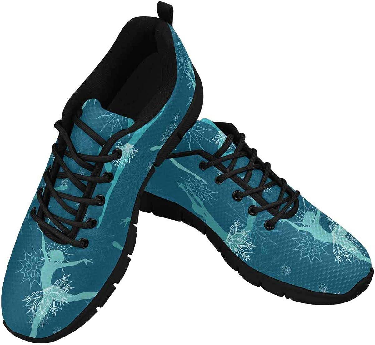 InterestPrint Floral Flower Ballet Pattern Women's Lace Up Running Comfort Sports Sneakers