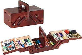 BrilliantDay Boîte de Couture en Bois y Compris Le kit de Couture Accessoires, Boîte de Rangement en Bois Rétro Élégant Or...