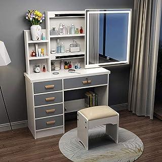 JTN Coiffeuse à LED avec miroir coulissant et tabouret rembourré - 5 tiroirs - Meuble de chambre à coucher pour femme (35 ...