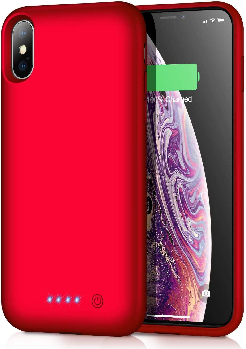 Battery Case for iPhone Xs max, Upgraded 7800mAh Portable Charging Case Extended Battery Pack for iPhone Xs Max [6.5 inch] Protective Charger Case - Red
